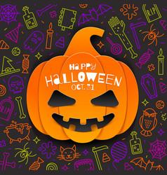 jack-o-lantern pumpkin cutout from paper vector image