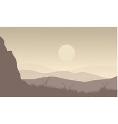 Landscape moon in hills vector image