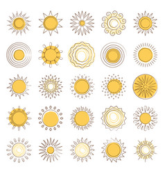 Line sun icons set vector