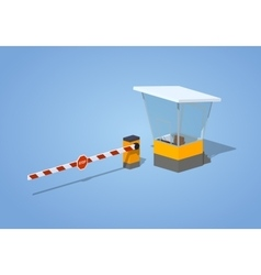 Low poly barrier and toll booth vector image