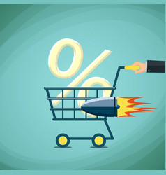 man carries a shopping cart with percentage sign vector image