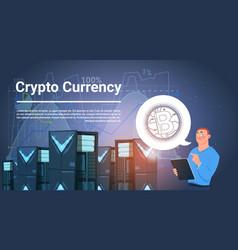 Man in data center bitcoin mining farm digital vector