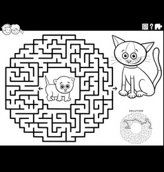 Maze game with kittens coloring book page vector
