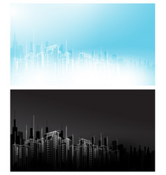 modern night day white black light dark city vector image