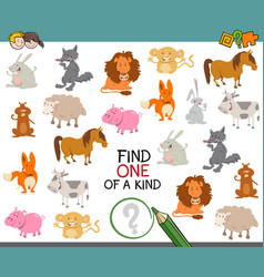 one of a kind with animals vector image