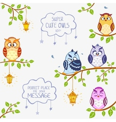Owls super cute vector