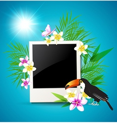 Photo tropical flowers and toucan vector image