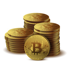 pile of coins bitcoin on white background concept vector image