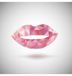 Pink lips made of triangles vector