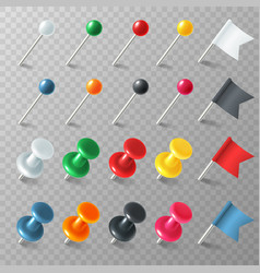 Pins flags tacks colored pointer marker pin flag vector