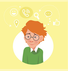 Programmer with glasses geek scientist student vector