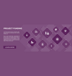 Project funding banner 10 icons concept vector