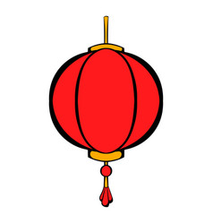 red chinese lantern icon cartoon vector image