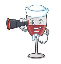 Sailor with binocular wine mascot cartoon style vector