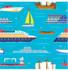 sea travel seamless pattern cruiser in ocean vector image
