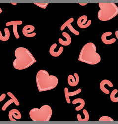 Seamless pattern with kawaii pink hearts vector