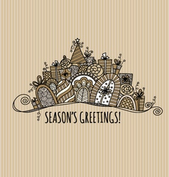 Seasons Greetings Christmas Banner Doodle vector