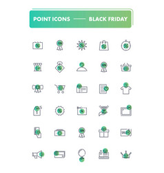 set of 30 line icons black friday vector image