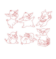 set of cute pigs isolated on white vector image