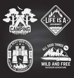 set outdoor adventure quotes on chalkboard vector image