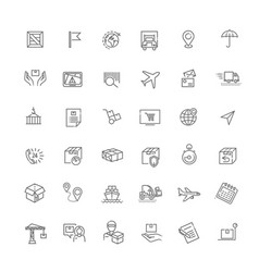 Set package delivery related line icons vector