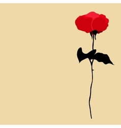 silhouette of red rose on beige background vector image