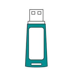 Sketch color silhouette usb pc flash drive vector