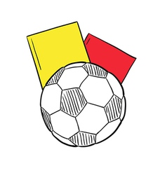 sketch of the football ball and two cards vector image