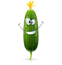 Smiling green cucumber vector