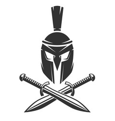Spartan helmet with crossed swords vector