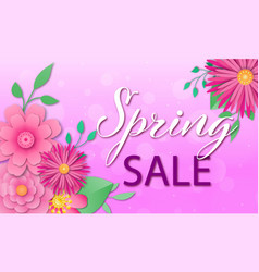 Spring sale background with paper cut flowers vector