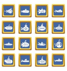 submarine icons set blue square vector image