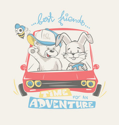 teddy and bunny driving adventure print design vector image