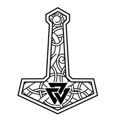 Thors hammer - mjolnir and scandinavian vector