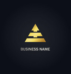 triangle shape arrow business gold logo vector image