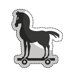 trojan horse silhouette isolated icon vector image
