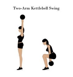 Two armed kettlebell swing exercise vector