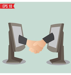 Virtual handshake - internet business concept vector image