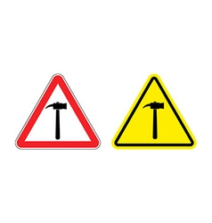 Warning sign attention hammer Hazard yellow sign vector image