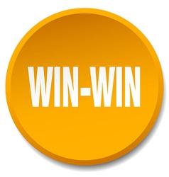 Win-win orange round flat isolated push button vector