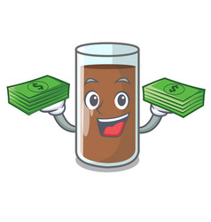 With money fresh chocolate splash on pouring vector
