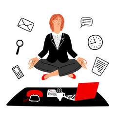work meditation concept businesswoman vector image
