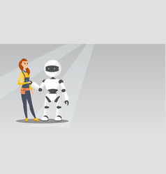 young caucasian woman handshaking with robot vector image