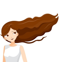 Young Woman With Long Curly Brown Hair vector image