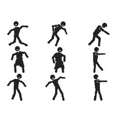 Zombie stick figure set vector