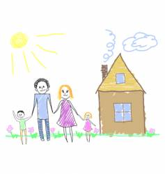 happy family near the house vector image vector image