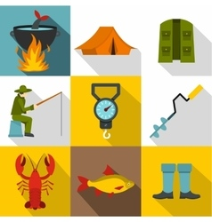 Hunting for fish icons set flat style vector