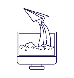purple line contour of lcd monitor and paper plane vector image vector image