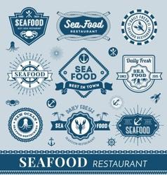 Set of seafood restaurant logo banner design vector image vector image