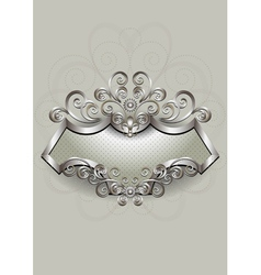 Silver pattern with heraldry and spirals on a silv vector image vector image